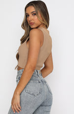 Scene Stealer Ribbed Crop Tan