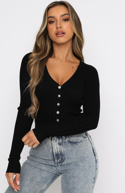 Anything Goes Long Sleeve Ribbed Crop Black