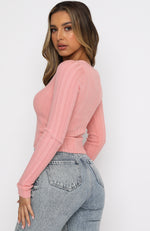 Anything Goes Long Sleeve Ribbed Crop Pink
