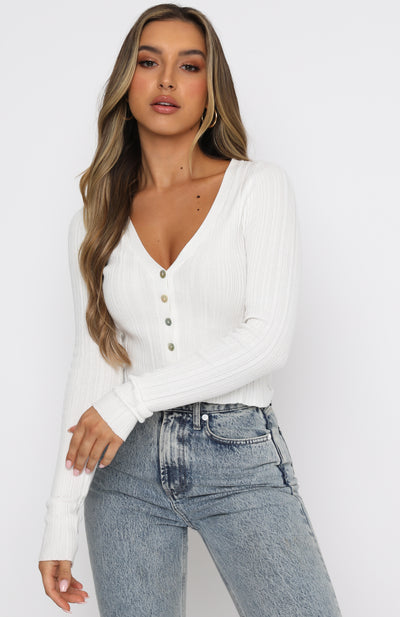 Anything Goes Long Sleeve Ribbed Crop White
