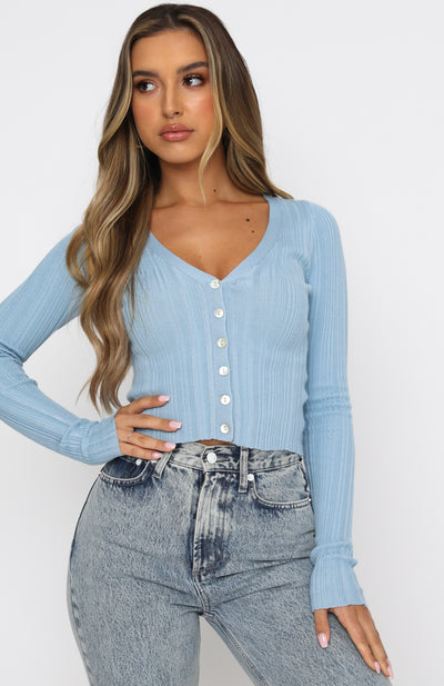 Anything Goes Long Sleeve Ribbed Crop Blue