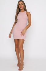 Star Power Ribbed Mini Dress Dusty Pink