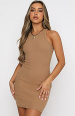 Star Power Ribbed Mini Dress Tan