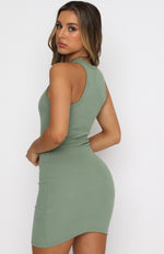 Star Power Ribbed Mini Dress Sage