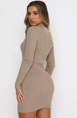Kind Of Perfect Ribbed Long Sleeve Mini Dress Camel