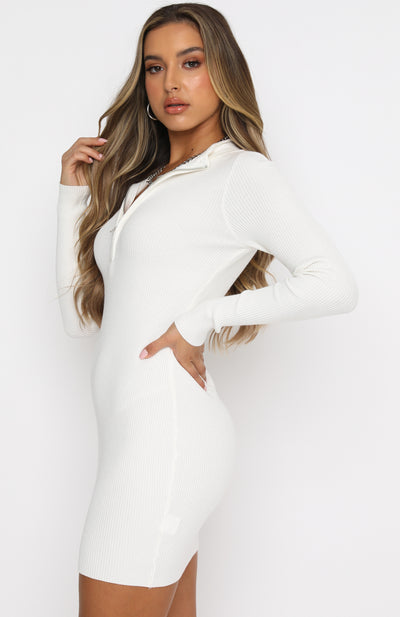 Kind Of Perfect Ribbed Long Sleeve Mini Dress White