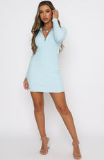 Kind Of Perfect Ribbed Long Sleeve Mini Dress Blue