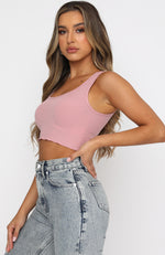 All For One Ribbed Crop Dusty Pink