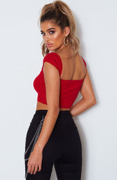 Dionne Square Neck Crop Red