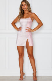 Flashing Lights Mini Dress Baby Pink