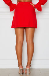 Fall For You Mini Skirt Red