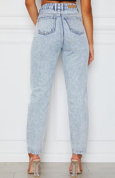 Like Duh! Boyfriend Jeans Washed Blue Denim