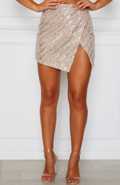 False Alarm Glitter Mini Skirt Silver