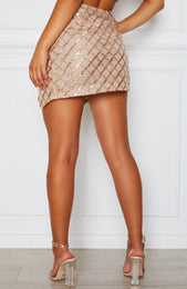 False Alarm Glitter Mini Skirt Gold