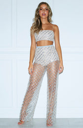 Lay Low Glitter Pants Silver