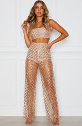 Lay Low Glitter Pants Gold