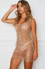 Most Wanted Glitter Mini Dress Gold