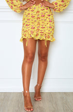Blossom Mini Skirt Yellow Dahlia