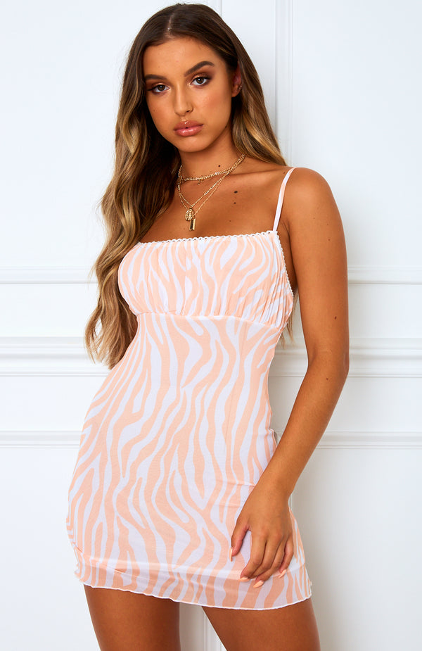 Lucinda Mesh Mini Dress Pink Zebra