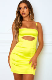 Level Up Mini Dress Neon Yellow