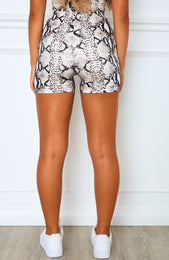 Yin and Yang Bike Shorts Beige Snake Print