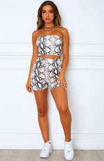 Yin and Yang Crop Beige Snake Print