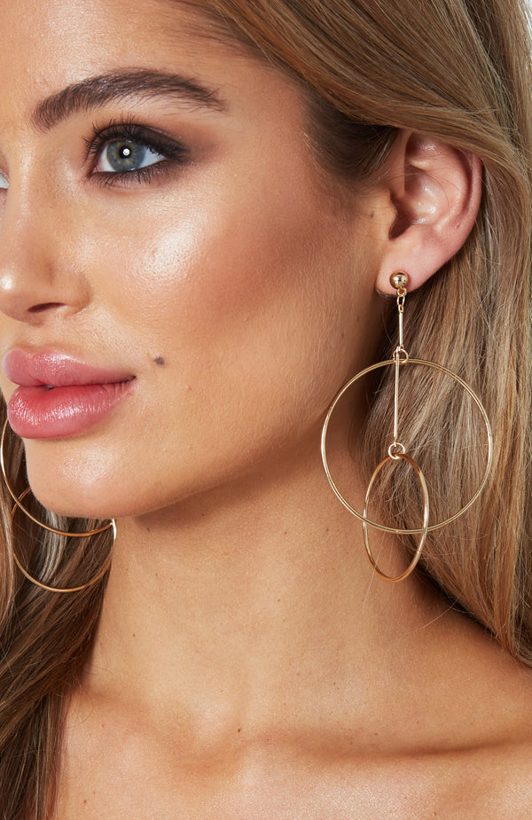 Double Circle Earrings Gold