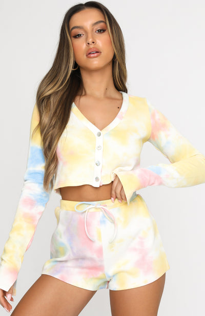 Cherish Long Sleeve Cardigan Rainbow Tie Dye