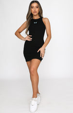 Ice Breaker Ribbed Mini Dress Black