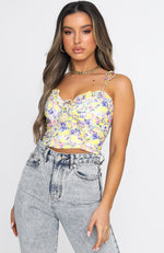 Baby It's You Bustier Yellow Print