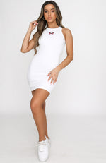 Ice Breaker Ribbed Mini Dress White