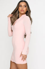 Lost In Your Eyes Long Sleeve Mini Dress Baby Pink