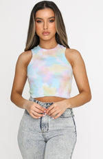 Love Like That Crop Rainbow Tie Dye