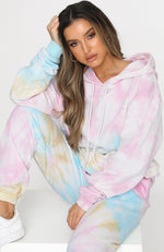 Hung Up On You Hoodie Rainbow Tie Dye