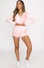 Cherish Long Sleeve Cardigan Pink Tie Dye