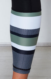 Sezzy Luxe Leggings Black/Olive Stripe