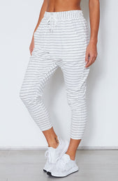 Drop It Like It's Crotch Pants White/Midnight Stripe