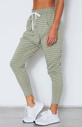 Drop It Like It's Crotch Pants Olive/White Stripe