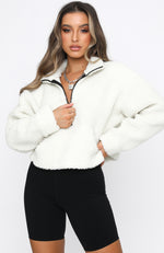 Livin' Cool Zip Front Teddy Sweater Ivory