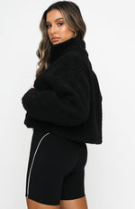 Livin' Cool Zip Front Teddy Sweater Black