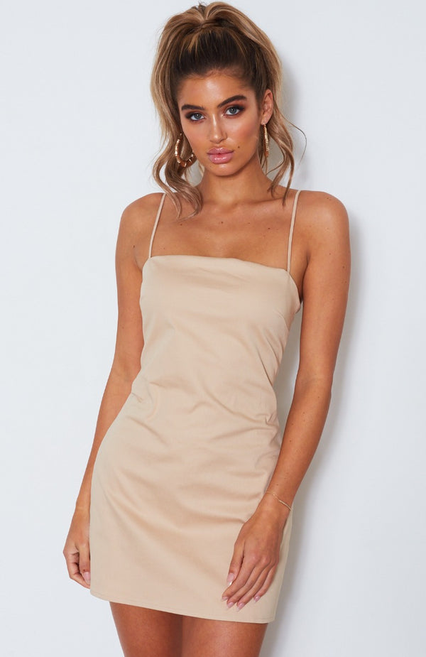 Clueless Mini Dress Beige