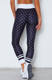 White Jasmine Leggings Midnight Clover Print