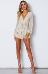 Golden Hour Playsuit Beige Speckle