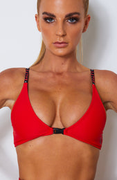 Take A Dip Bikini Top Red