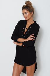 Dreamstate Shirt Dress Black