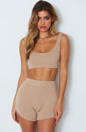 Queens Knit Crop Camel