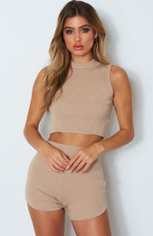 Ace Knit Crop Camel