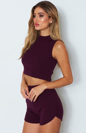 Ace Knit Crop Sangria