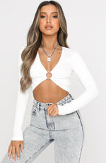 Closing In Long Sleeve Crop White