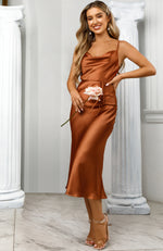 Be My Lover Midi Dress Rust